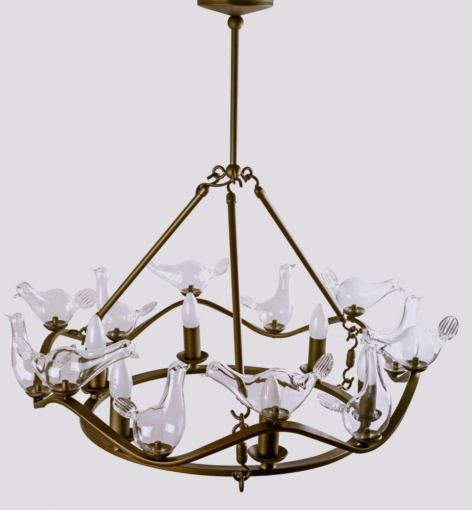 Люстра из стекла с птичками «Uccellino»